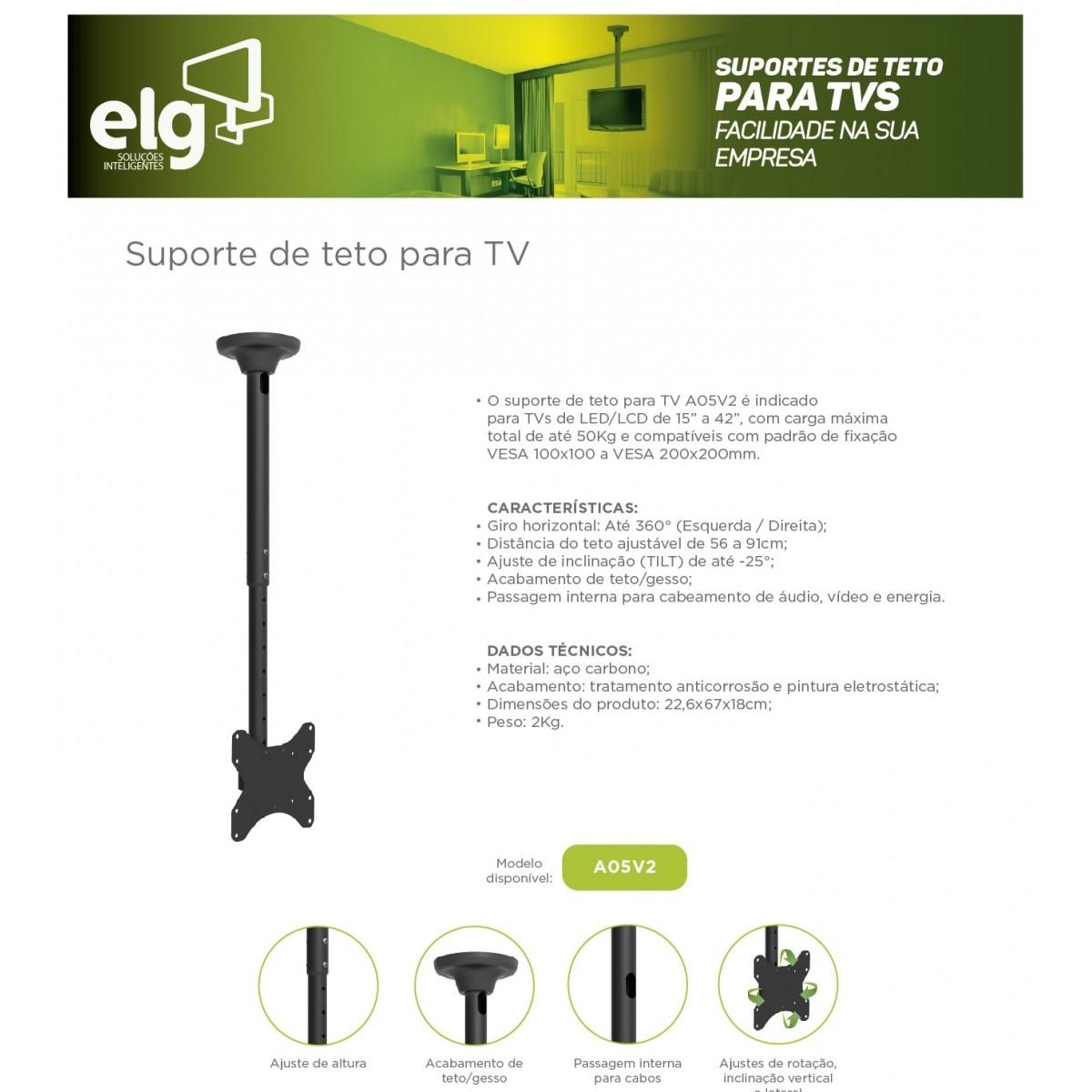 Suporte de Teto para TV / Monitor Lcd Led 15 A 32 A05v2 ELG  - Central Suportes