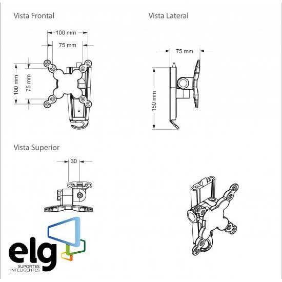 Suporte Inclinável de Parede para Monitores até 29 polegadas A03V1 ELG  - Central Suportes