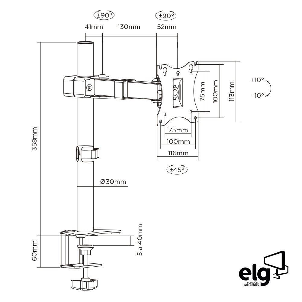Suporte Monitor Articulado F50N ELG  - Central Suportes