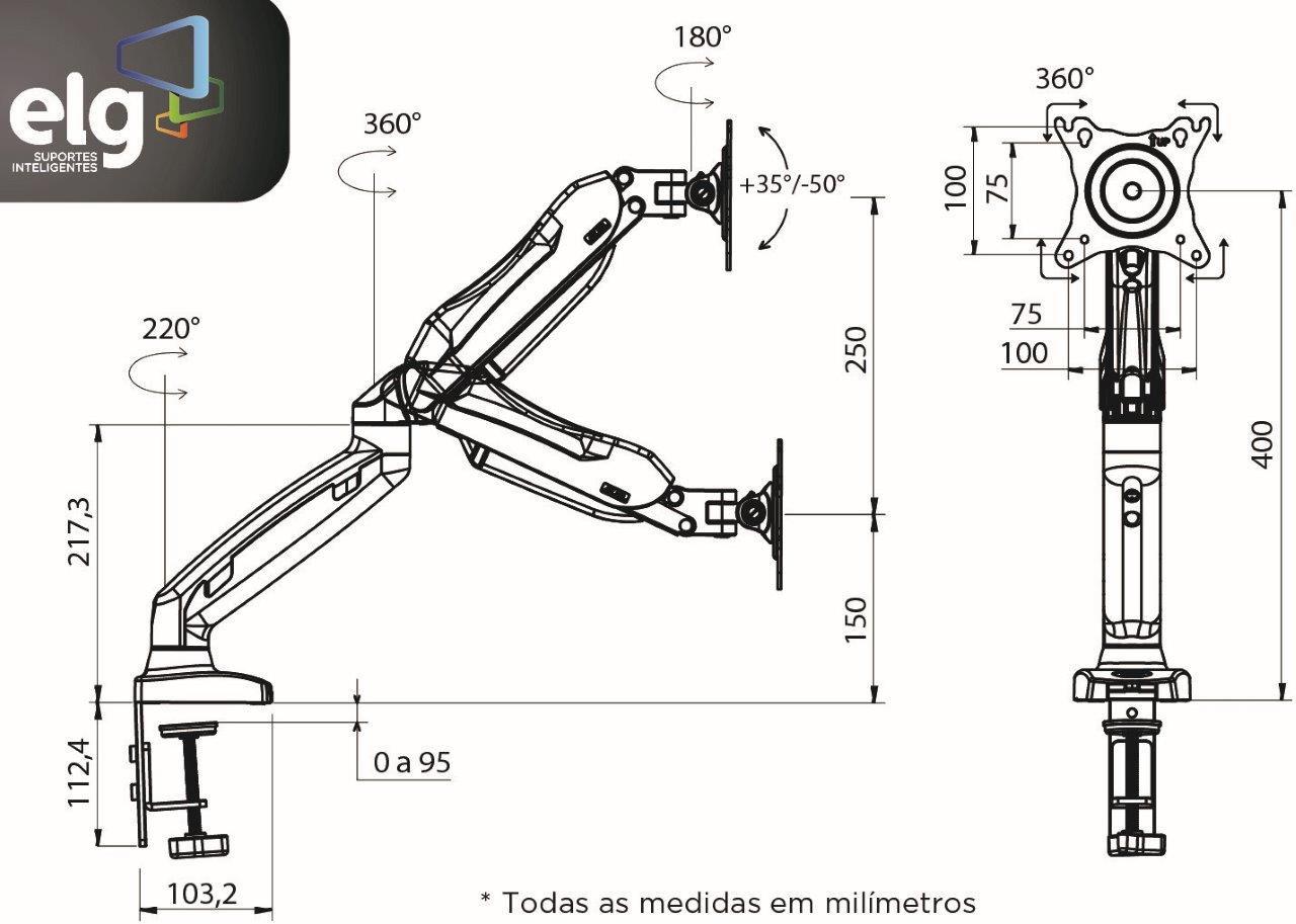 Suporte Monitor Articulado F90 USB ELG com 2 Portas 3.0  - Central Suportes