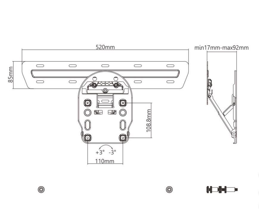 Suporte Nogap para TV QLED Samsung 49-55-65 das Q7 Q8 Q9 LED-13Q  - Central Suportes