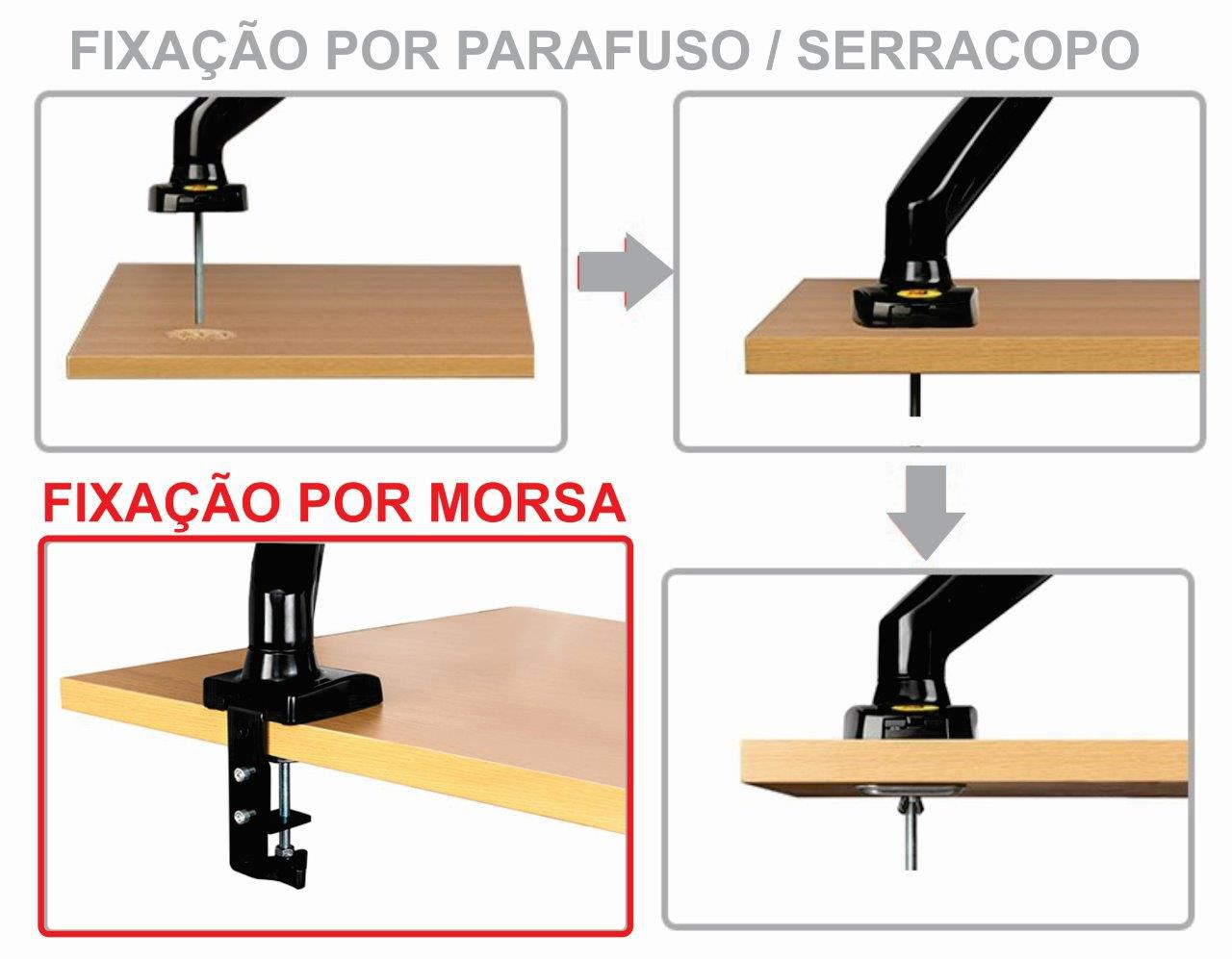 Suporte para 2 Monitores 15 a 27 F180 USB NB - ELG  - Central Suportes