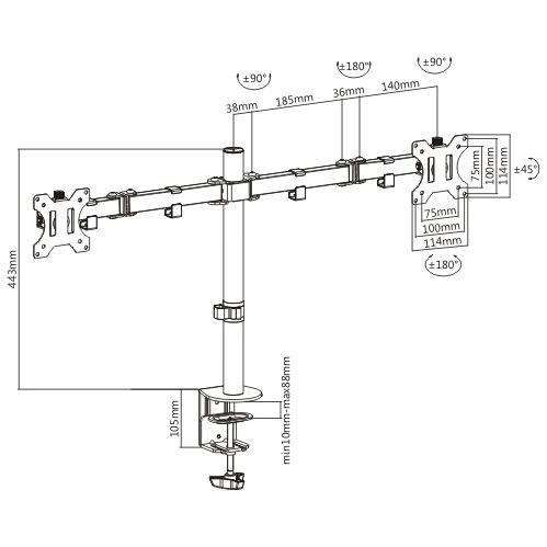 Suporte para 2 Monitores 15 a 32 Base Morsa Ajuste de Altura e Convergência T1224C  - Central Suportes