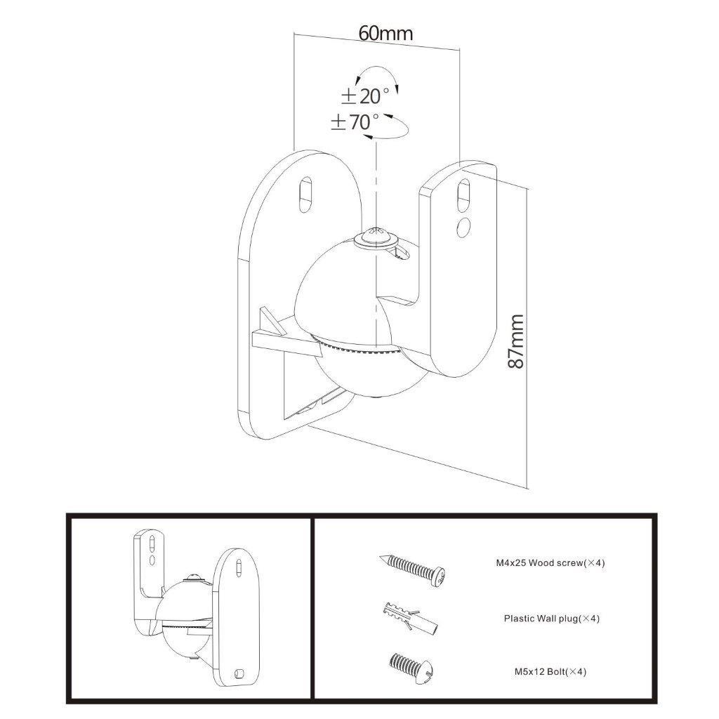Suporte para Caixa de Som Home (par) CX01 ELG Preto  - Central Suportes