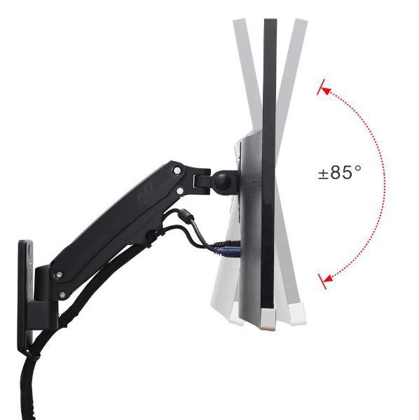 Suporte para Monitor Articulado 20 a 34 de Parede com Pistão a Gás e Ajuste de Altura F425 NB Preto  - Central Suportes