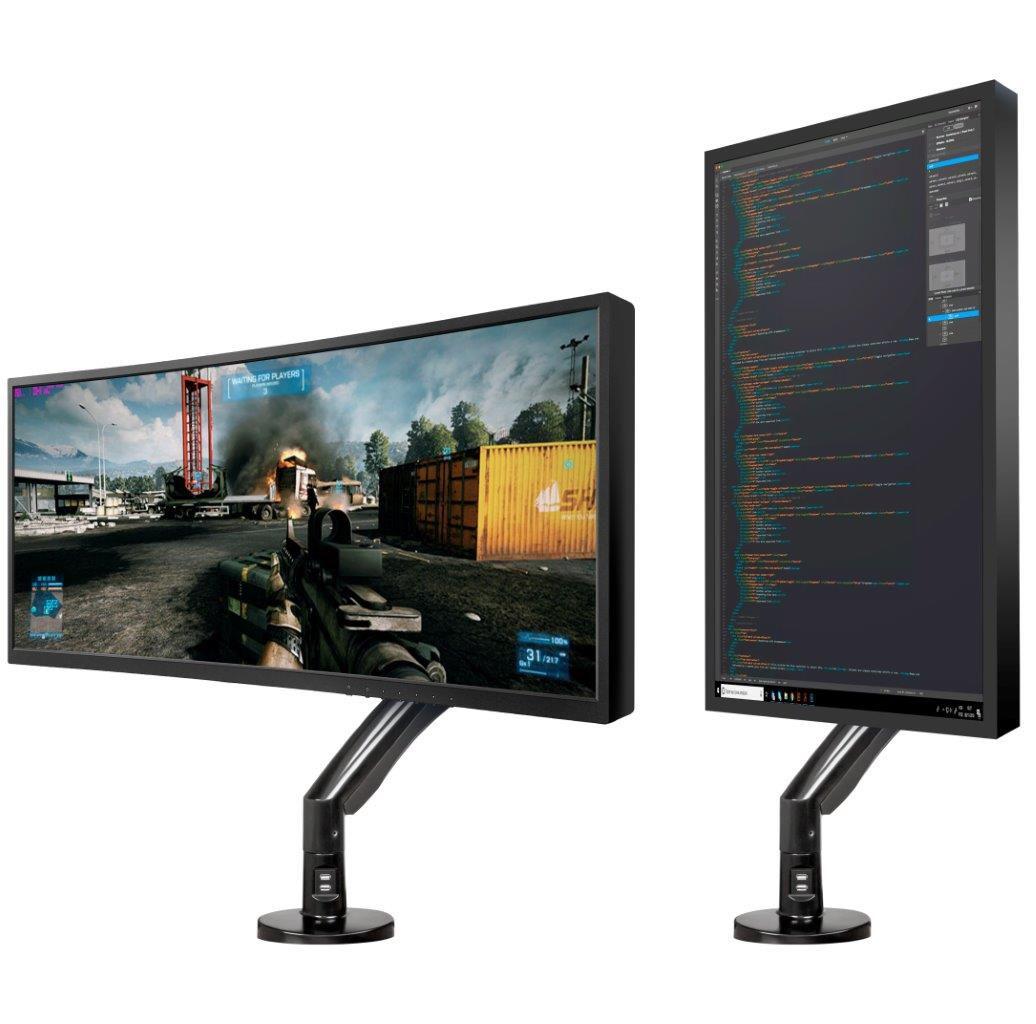 Suporte para Monitor Articulado Gamer 20 a 35 de Mesa F100A NB ELG   - Central Suportes