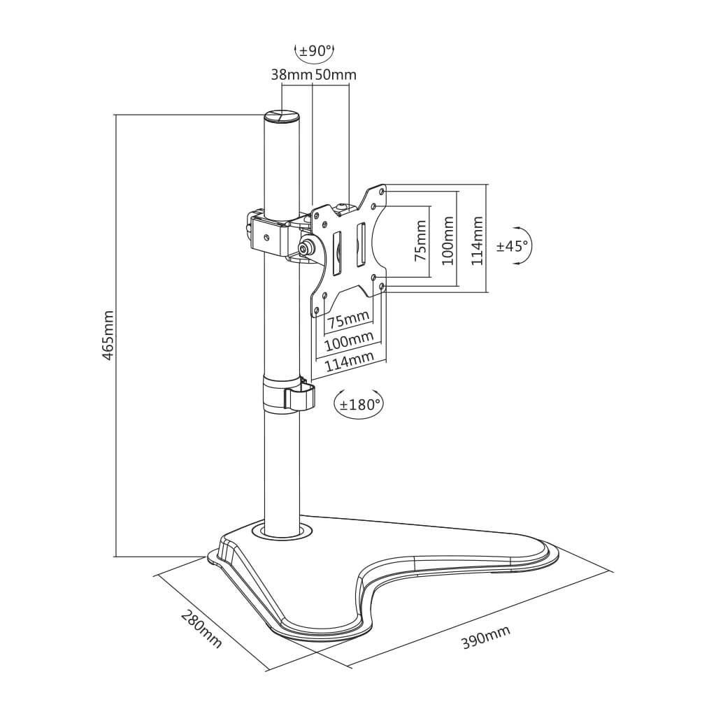 Suporte para Monitor de Mesa 15 a 29 com Ajuste de Altura T50N ELG  - Central Suportes