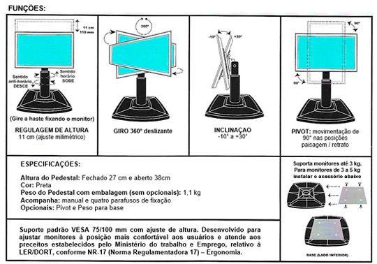 Suporte para Monitor de Mesa de 15 a 29 com Ajuste de Altura CS400  - Central Suportes