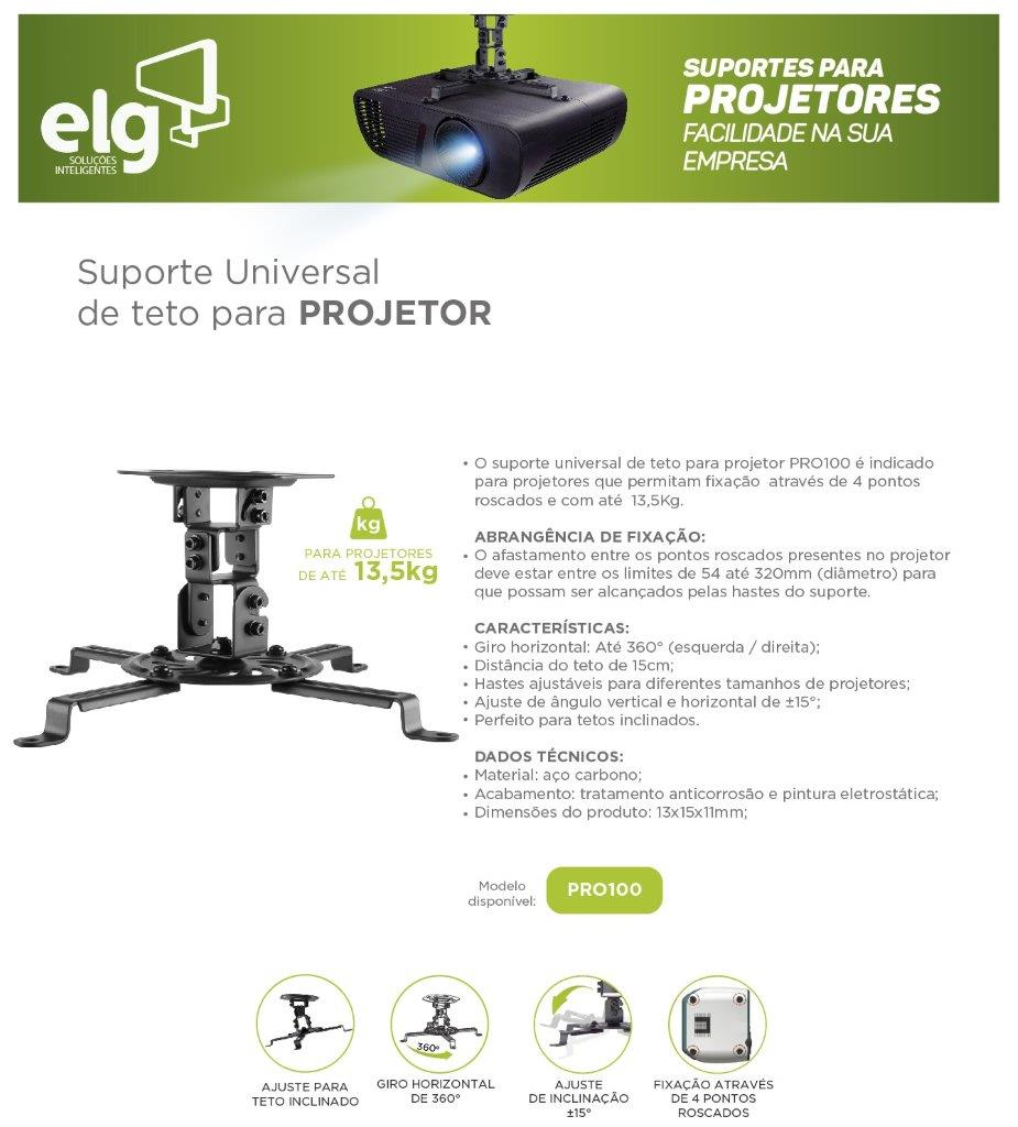 Suporte para Projetor de Teto modelo PRO100 ELG Branco  - Central Suportes