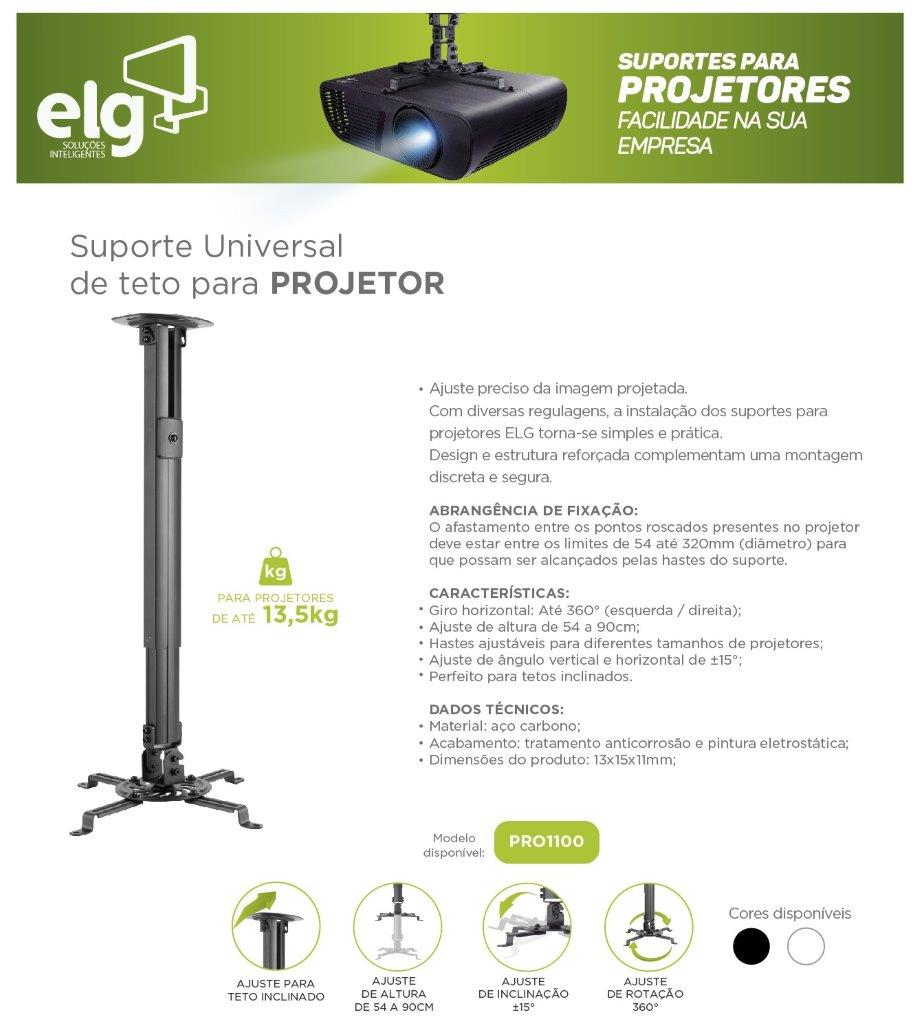 Suporte para Projetor PRO1100 Branco ELG  - Central Suportes