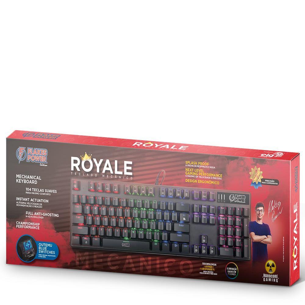Teclado Gamer Flakes Power Royale Mecânico 104 Teclas Iluminado FLKTM001 ELG  - Central Suportes