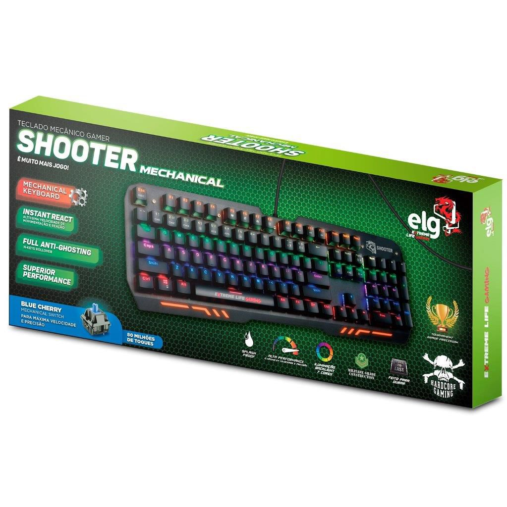Teclado Gamer Mecânico 104 Teclas Led iluminado Mechanical Shooter TGMS ELG  - Central Suportes