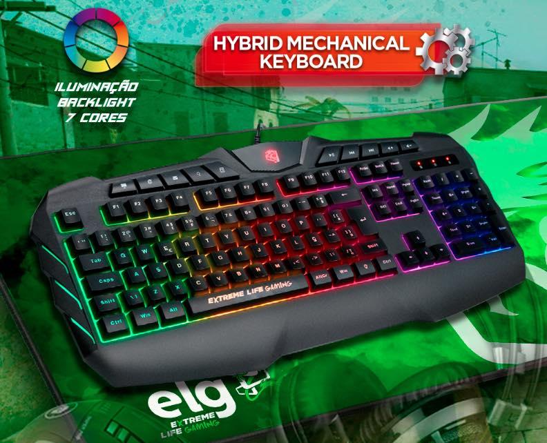 Teclado Gamer Membrana Tripla 120 Teclas iluminado Hybrid Mechanical Pulse Fire TGHMPF ELG  - Central Suportes