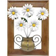 Painel Artesanal Decorativo em Ferro e Madeira com Margaridas Brancas Rústico