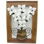 Painel Rústico Decorativo Artesanal de Rosas Brancas em Ferro e Madeira de Demolição