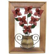 Quadro Decorativo em Ferro Rústico Artesanal com Madeira Rosas Vermeklhas