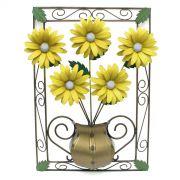 Quadro Artesanal para Parede com Flores de Ferro Rustico