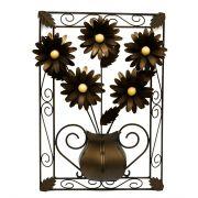 Quadro Artesanal Rústico Mineiro Moldura de Ferro com Flores