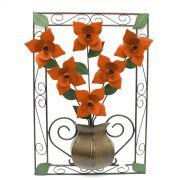 Quadro Artesanal de Flores de Ferro para Parede Rustico