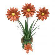 Arandela de Parede Área Externa com Ferro e Flores Artesanal  01 Bocal