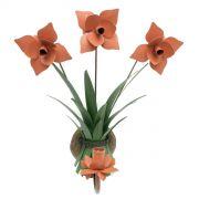 Luminaria de Parede de Ferro com Flores Artesanais Rustica para Sala