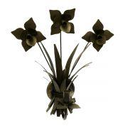 Arandela De Parede Área Externa Com Flores de Ferro Artesanal