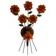 Arandela de Parede com Flores Artesanato em Ferro e Lata Frete Grátis