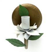 Arandela De Parede Artesanal de Ferro com Flor Rustica Area Interna