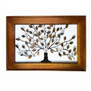 Moldura Decorativa para Sala Artesanal em Ferro Rústico com Árvore de Flores