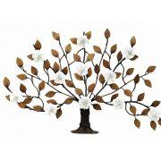 Árvore de Parede Ferro E Lata Artesanal Rústico com Flores