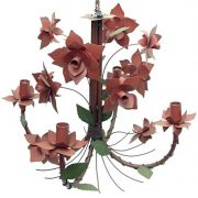 Lustre De Ferro Sala de Jantar Moderna Flores com 4 Braços Rustico