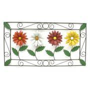 Quadro de Parede Artesanal com Flores Decorativo em Ferro