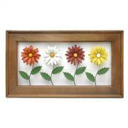 Jardineira Quadro Moldura de Madeira Rústica de Demolição Artesanal com Flores Coloridas Margaridas