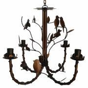 Lindo Lustre de Pássaros de Metal Decorativo para Varanda e Sacada