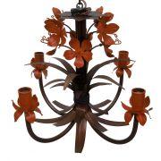 Luminaria Artesanal de Metal com Tulipas Decorativas Iluminação de Sala
