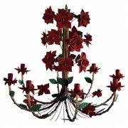 Luminária Rustica Grande para Varanda com 08 Lâmpadas com Flores de Ferro