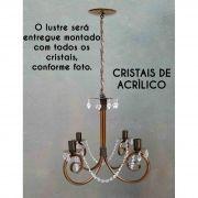 Lustre Artesanal De Ferro com Cristal Rustico Para Sala de Jantar e Cozinha
