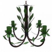 Lustre Colonial De Ferro Com Folhas Decorativas pelo Melhor Preço