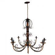 Luminaria De Ferro Artesanal Para Sala Verniz Rustica para 8 Lâmpadas
