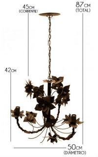 Lustre de Ferro Rustico para Sala de Estar Envelhecido com Flores