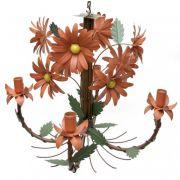 Luminária para Sala de Estar Artesanal com Flores de Ferro e Lata