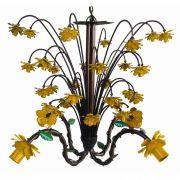 Lustre Florido Artesanal com Flores Decorativas para Varanda Moderna