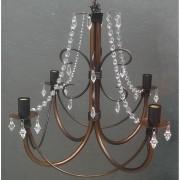 Lustre De Ferro com Cristal Acrilico Rustico Para Sala de Jantar e Cozinha