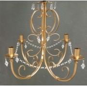 Lustre de Ferro Dourado com Cristais Rustico Artesanal para Sala de Jantar