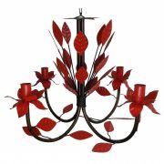 Lustre De Folhas em Ferro Colorido para Decoração de Varanda Colonial