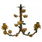 Lustre Estilo Rustico em Ferro e Lata com Flores Sala de Estar 02 Bocas