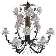 Lustre Flores em Ferro Artesanal para Sala de Visita e Jantar Rustico
