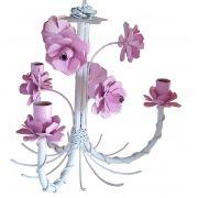 Lustre Quarto de Menina Artesanal com Flores Lindo e Simples 03 Bocas