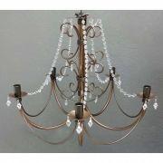 Lustre Rustico Colonial para Iluminação de Sala de Jantar Grande
