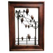 Quadro Artesanal Ferro E Madeira Rústico Sala Pássaros 70 V